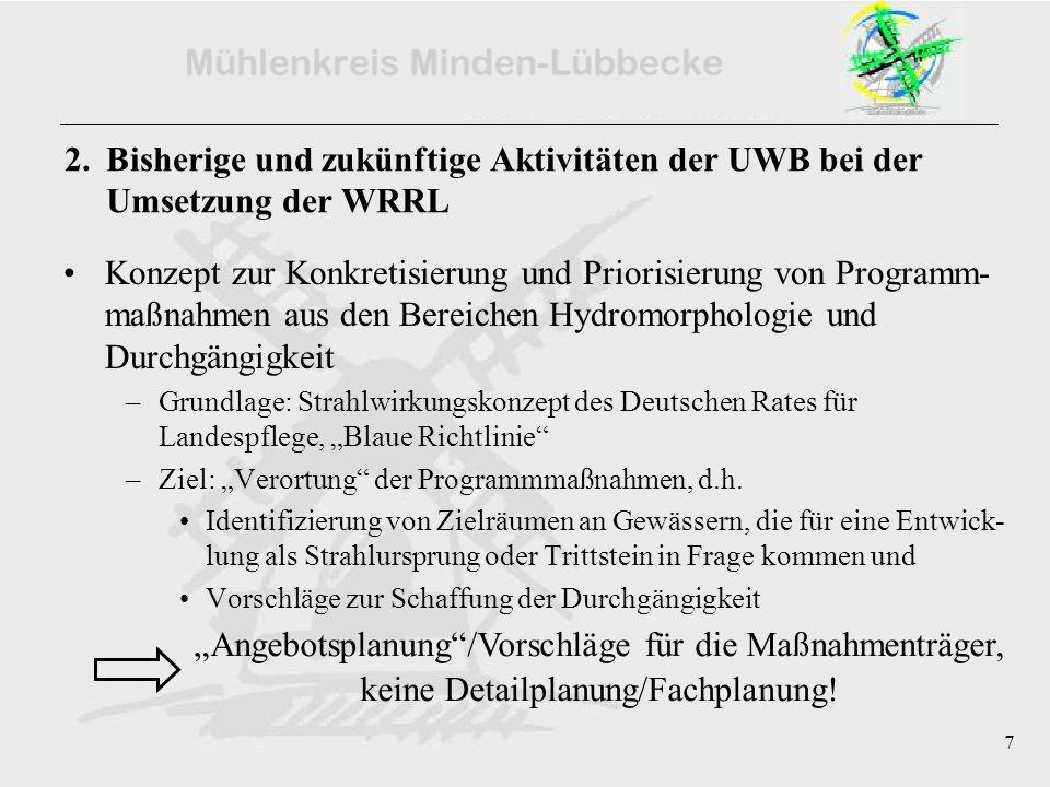 7 2. Bisherige und zukünftige Aktivitäten der UWB bei der Umsetzung der WRRL Konzept zur Konkretisierung und Priorisierung von Programm- maßnahmen aus