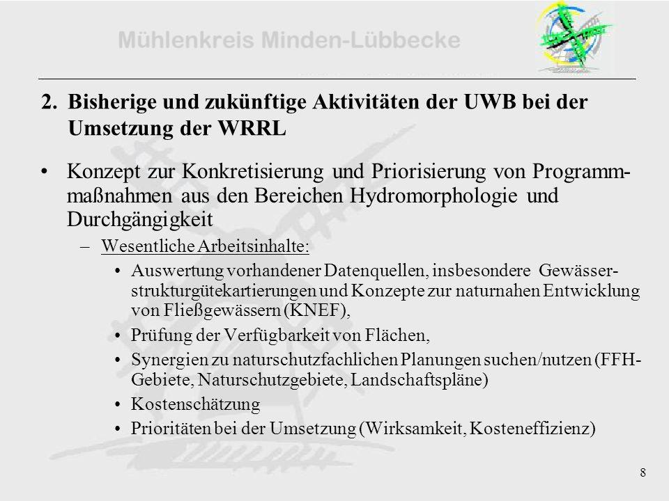 8 2. Bisherige und zukünftige Aktivitäten der UWB bei der Umsetzung der WRRL Konzept zur Konkretisierung und Priorisierung von Programm- maßnahmen aus