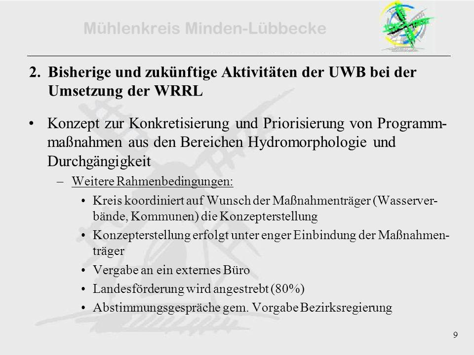 9 2. Bisherige und zukünftige Aktivitäten der UWB bei der Umsetzung der WRRL Konzept zur Konkretisierung und Priorisierung von Programm- maßnahmen aus
