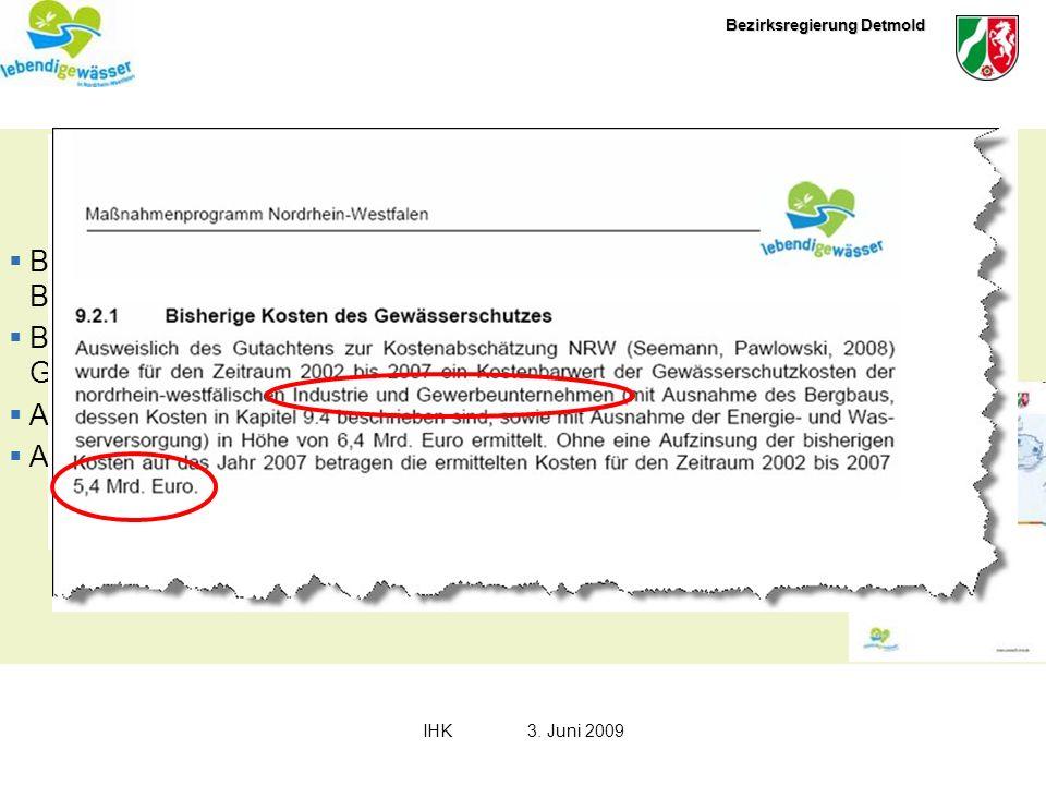 Bezirksregierung Detmold IHK3. Juni 2009 Das Maßnahmenprogramm : Beschreibung der Maßnahmenprogramme zur Minderung stofflicher Belastungen Beschreibun