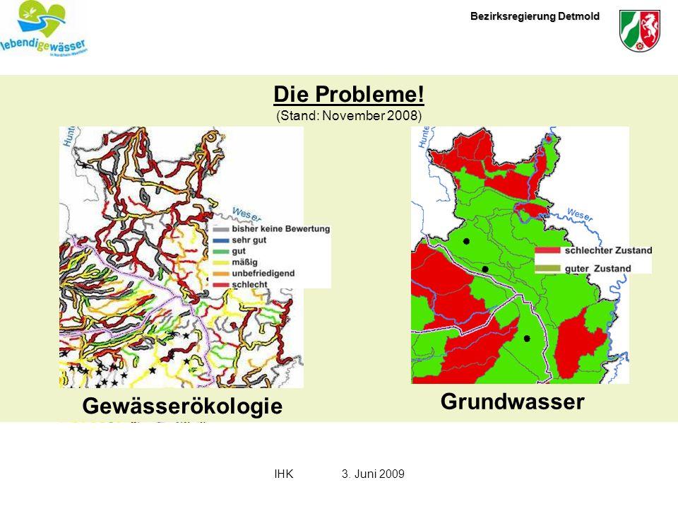 Bezirksregierung Detmold IHK3. Juni 2009 Grundwasser Gewässerökologie Die Probleme! (Stand: November 2008)