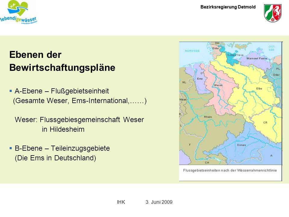 Bezirksregierung Detmold IHK3. Juni 2009 Ebenen der Bewirtschaftungspläne A-Ebene – Flußgebietseinheit (Gesamte Weser, Ems-International,……) Weser: Fl