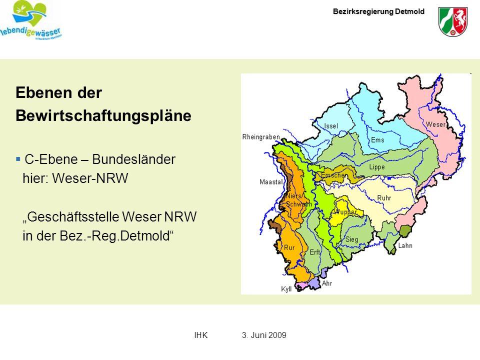 Bezirksregierung Detmold IHK3. Juni 2009 Ebenen der Bewirtschaftungspläne C-Ebene – Bundesländer hier: Weser-NRW Geschäftsstelle Weser NRW in der Bez.