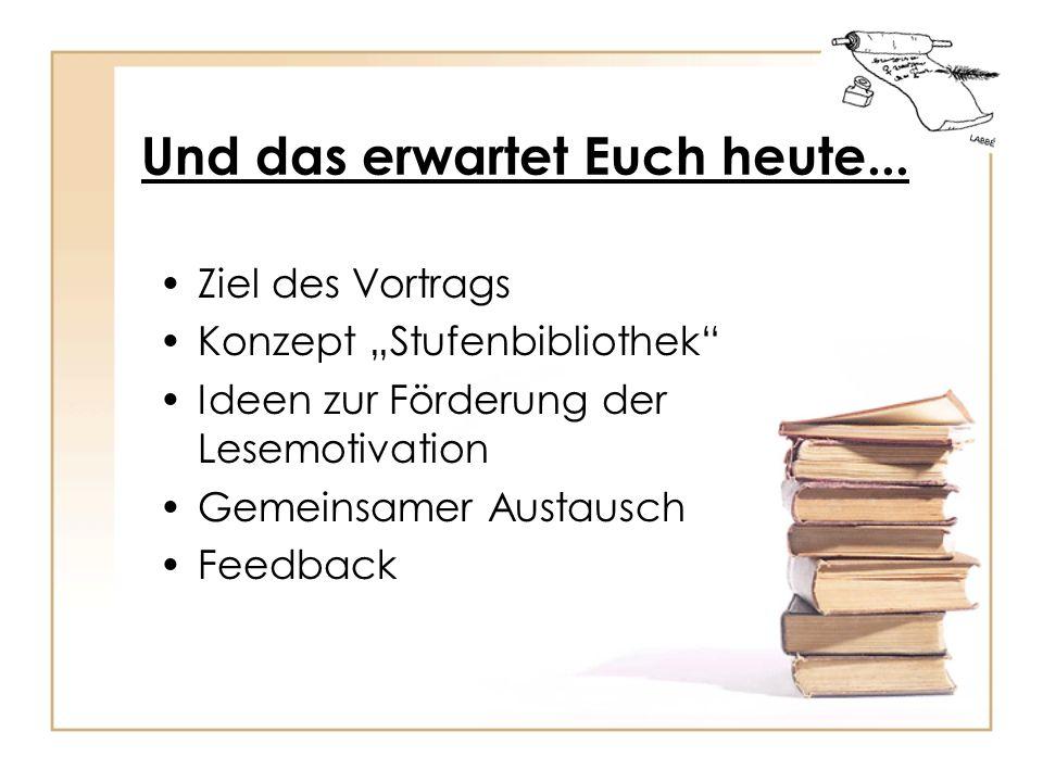 Und das erwartet Euch heute... Ziel des Vortrags Konzept Stufenbibliothek Ideen zur Förderung der Lesemotivation Gemeinsamer Austausch Feedback