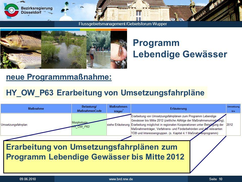 www.brd.nrw.de 10Seite 09.06.2010 Flussgebietsmanagement /Gebietsforum Wupper Programm Lebendige Gewässer HY_OW_P63 Erarbeitung von Umsetzungsfahrplän