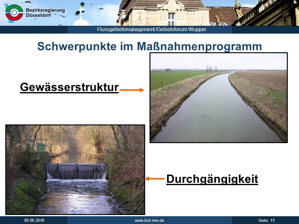 www.brd.nrw.de 12Seite 09.06.2010 Flussgebietsmanagement /Gebietsforum Wupper Eckpunkte der Leitlinie Umsetzungsfahrplan