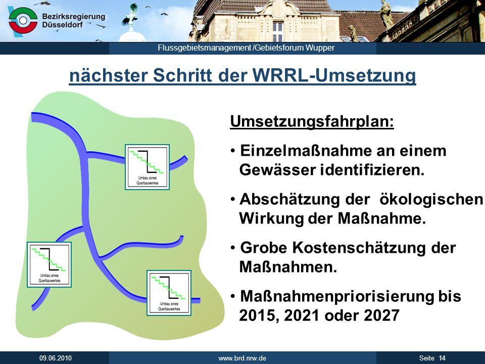 www.brd.nrw.de 14Seite 09.06.2010 Flussgebietsmanagement /Gebietsforum Wupper nächster Schritt der WRRL-Umsetzung Umsetzungsfahrplan: Einzelmaßnahme a