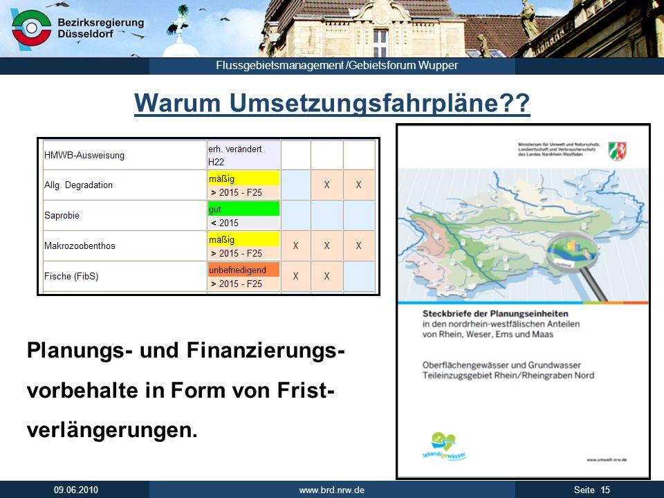 www.brd.nrw.de 15Seite 09.06.2010 Flussgebietsmanagement /Gebietsforum Wupper Warum Umsetzungsfahrpläne?? Planungs- und Finanzierungs- vorbehalte in F