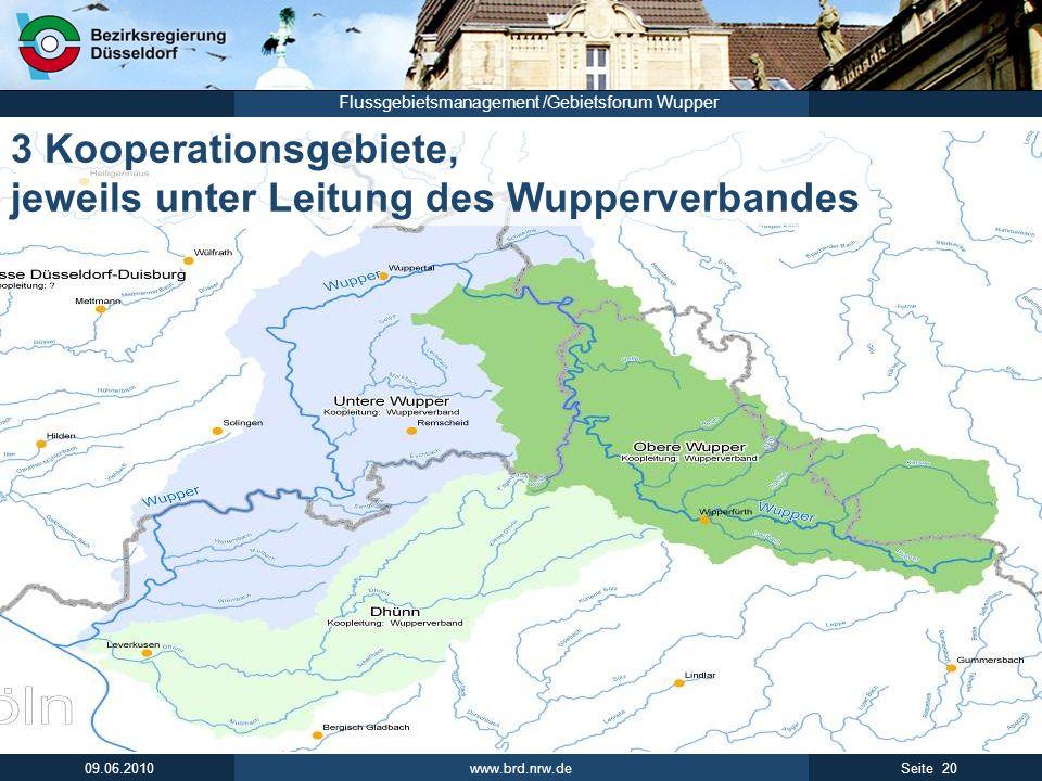 www.brd.nrw.de 20Seite 09.06.2010 Flussgebietsmanagement /Gebietsforum Wupper 3 Kooperationsgebiete, jeweils unter Leitung des Wupperverbandes