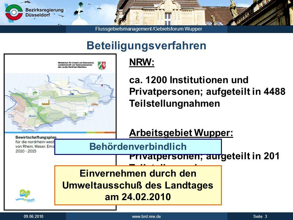 www.brd.nrw.de 3Seite 09.06.2010 Flussgebietsmanagement /Gebietsforum Wupper NRW: ca. 1200 Institutionen und Privatpersonen; aufgeteilt in 4488 Teilst