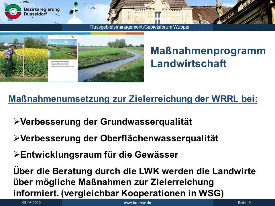 www.brd.nrw.de 9Seite 09.06.2010 Flussgebietsmanagement /Gebietsforum Wupper Maßnahmenprogramm Landwirtschaft Maßnahmenumsetzung zur Zielerreichung de