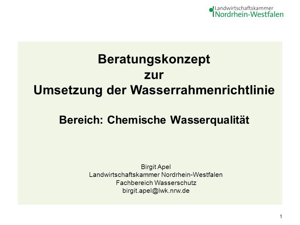 1 Beratungskonzept zur Umsetzung der Wasserrahmenrichtlinie Bereich: Chemische Wasserqualität Birgit Apel Landwirtschaftskammer Nordrhein-Westfalen Fa
