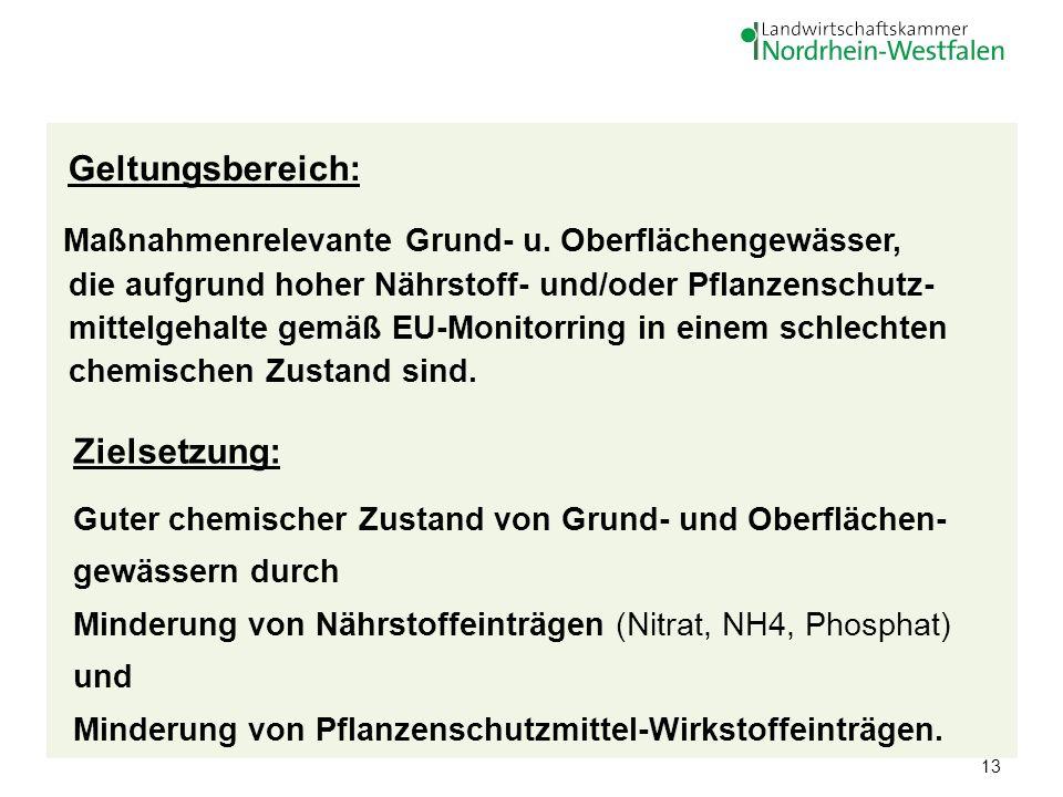 13 Geltungsbereich: Maßnahmenrelevante Grund- u. Oberflächengewässer, die aufgrund hoher Nährstoff- und/oder Pflanzenschutz- mittelgehalte gemäß EU-Mo