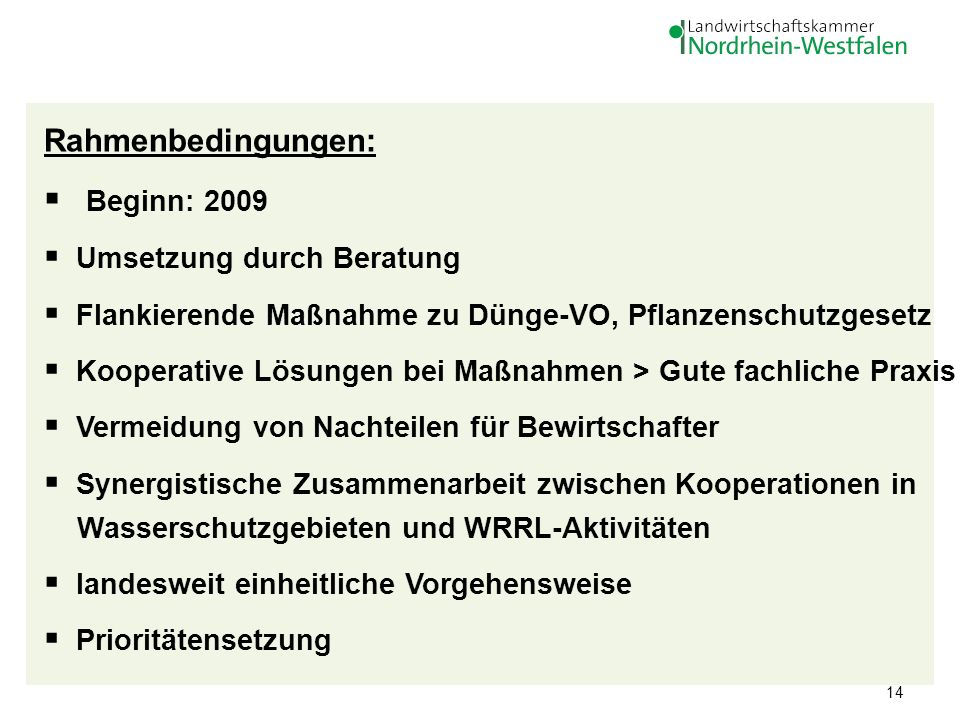 14 Rahmenbedingungen: Beginn: 2009 Umsetzung durch Beratung Flankierende Maßnahme zu Dünge-VO, Pflanzenschutzgesetz Kooperative Lösungen bei Maßnahmen