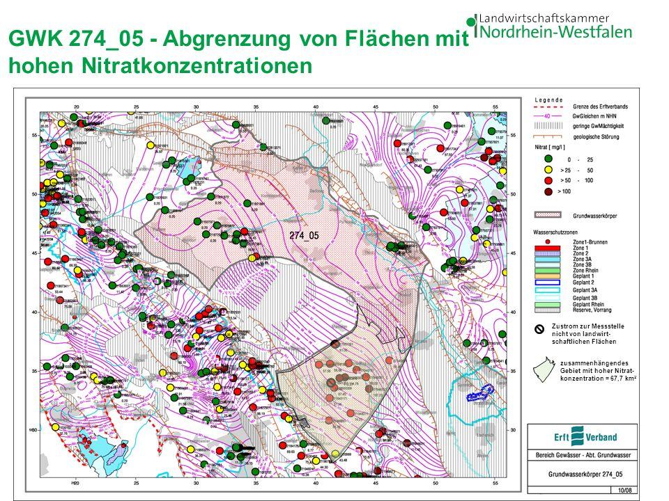 19 GWK 274_05 - Abgrenzung von Flächen mit hohen Nitratkonzentrationen Zustrom zur Messstelle nicht von landwirt- schaftlichen Flächen zusammenhängend