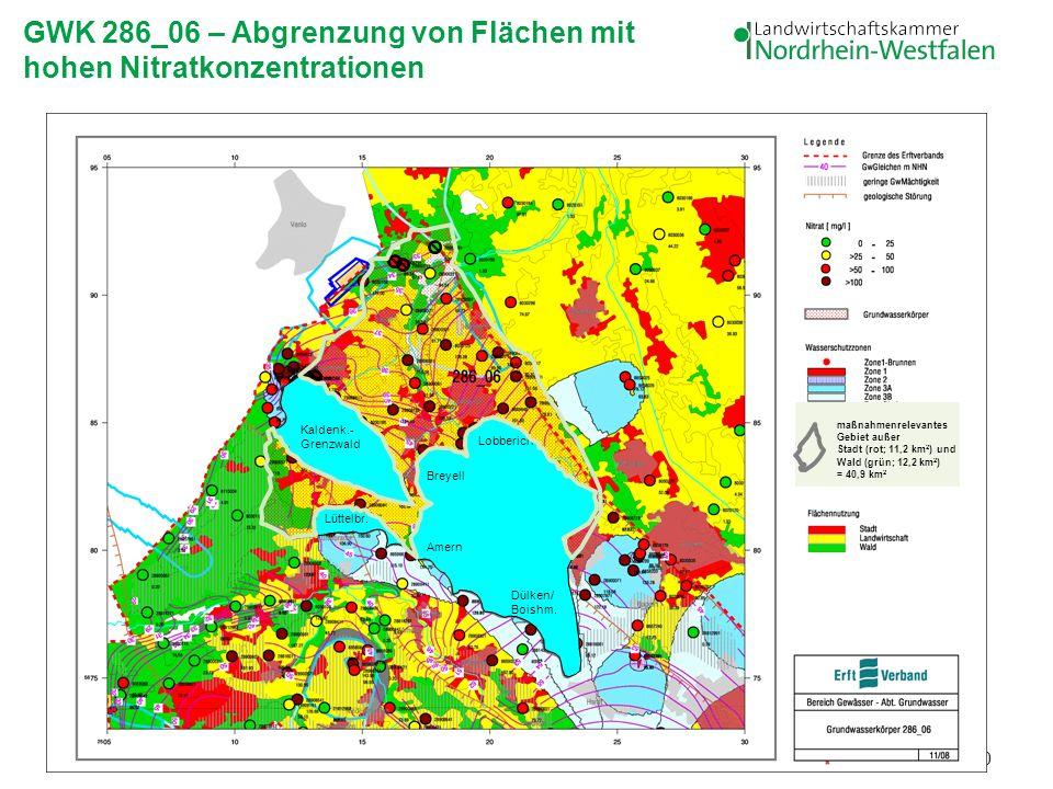 20 Lüttelbr. Kaldenk.- Grenzwald Amern Breyell Dülken/ Boishm. Lobberich maßnahmenrelevantes Gebiet außer Stadt (rot; 11,2 km 2 ) und Wald (grün; 12,2