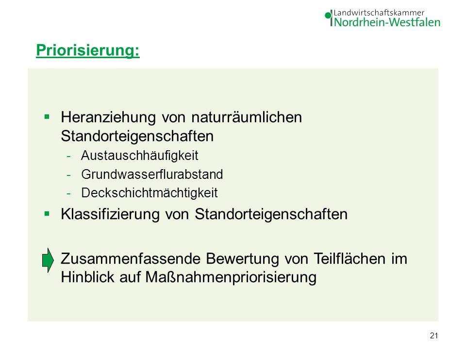 21 Heranziehung von naturräumlichen Standorteigenschaften -Austauschhäufigkeit -Grundwasserflurabstand -Deckschichtmächtigkeit Klassifizierung von Sta