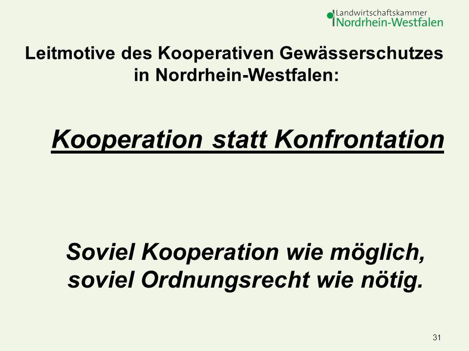 31 Leitmotive des Kooperativen Gewässerschutzes in Nordrhein-Westfalen: Soviel Kooperation wie möglich, soviel Ordnungsrecht wie nötig. Kooperation st