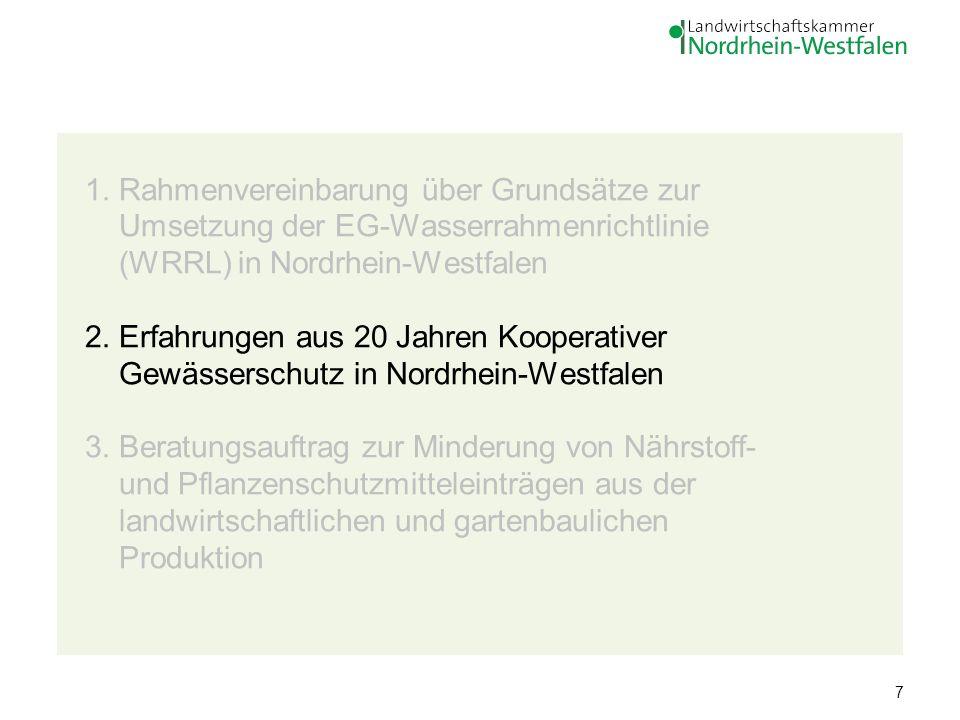 7 1. Rahmenvereinbarung über Grundsätze zur Umsetzung der EG-Wasserrahmenrichtlinie (WRRL) in Nordrhein-Westfalen 2. Erfahrungen aus 20 Jahren Koopera