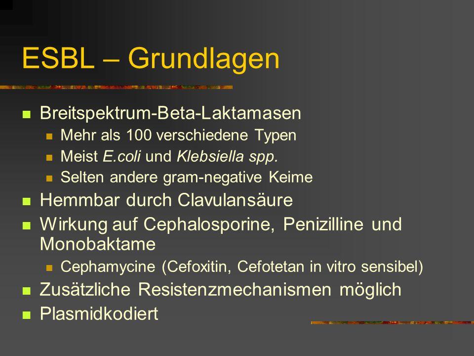 ESBL – Grundlagen Breitspektrum-Beta-Laktamasen Mehr als 100 verschiedene Typen Meist E.coli und Klebsiella spp. Selten andere gram-negative Keime Hem