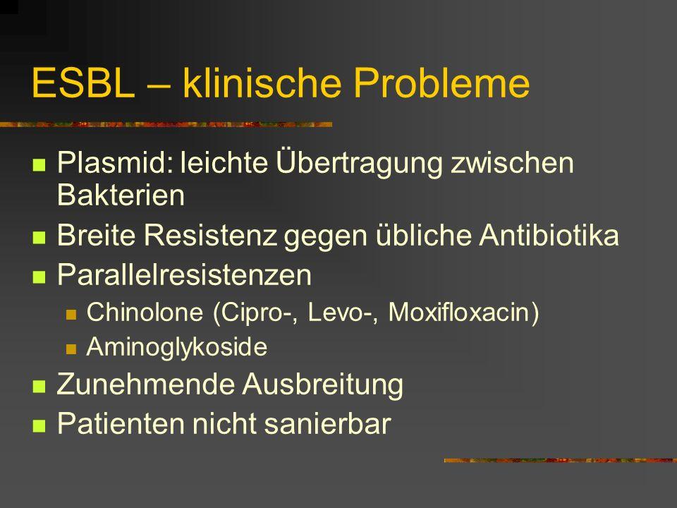 ESBL – klinische Probleme Plasmid: leichte Übertragung zwischen Bakterien Breite Resistenz gegen übliche Antibiotika Parallelresistenzen Chinolone (Ci