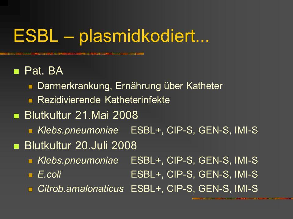 ESBL – plasmidkodiert... Pat. BA Darmerkrankung, Ernährung über Katheter Rezidivierende Katheterinfekte Blutkultur 21.Mai 2008 Klebs.pneumoniaeESBL+,