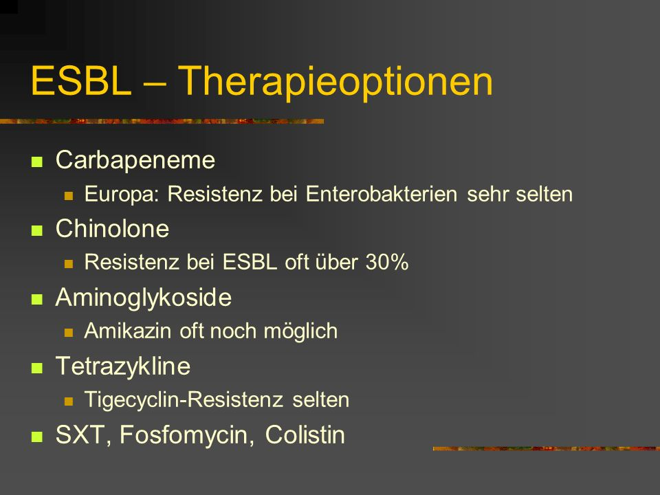 ESBL – Therapieoptionen Carbapeneme Europa: Resistenz bei Enterobakterien sehr selten Chinolone Resistenz bei ESBL oft über 30% Aminoglykoside Amikazi