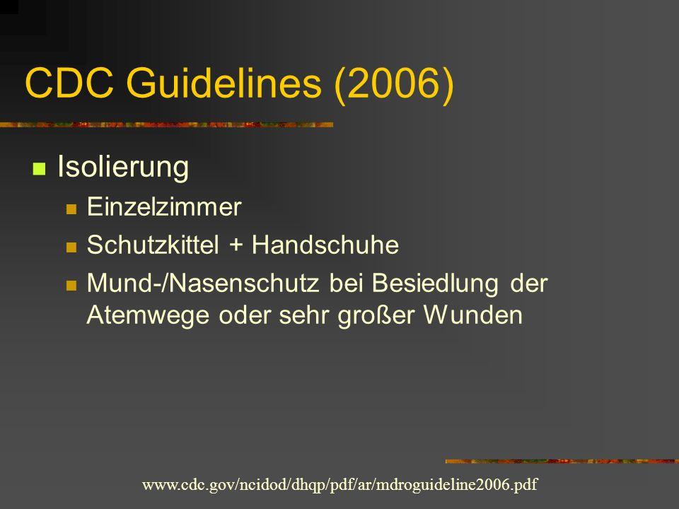 CDC Guidelines (2006) Isolierung Einzelzimmer Schutzkittel + Handschuhe Mund-/Nasenschutz bei Besiedlung der Atemwege oder sehr großer Wunden www.cdc.