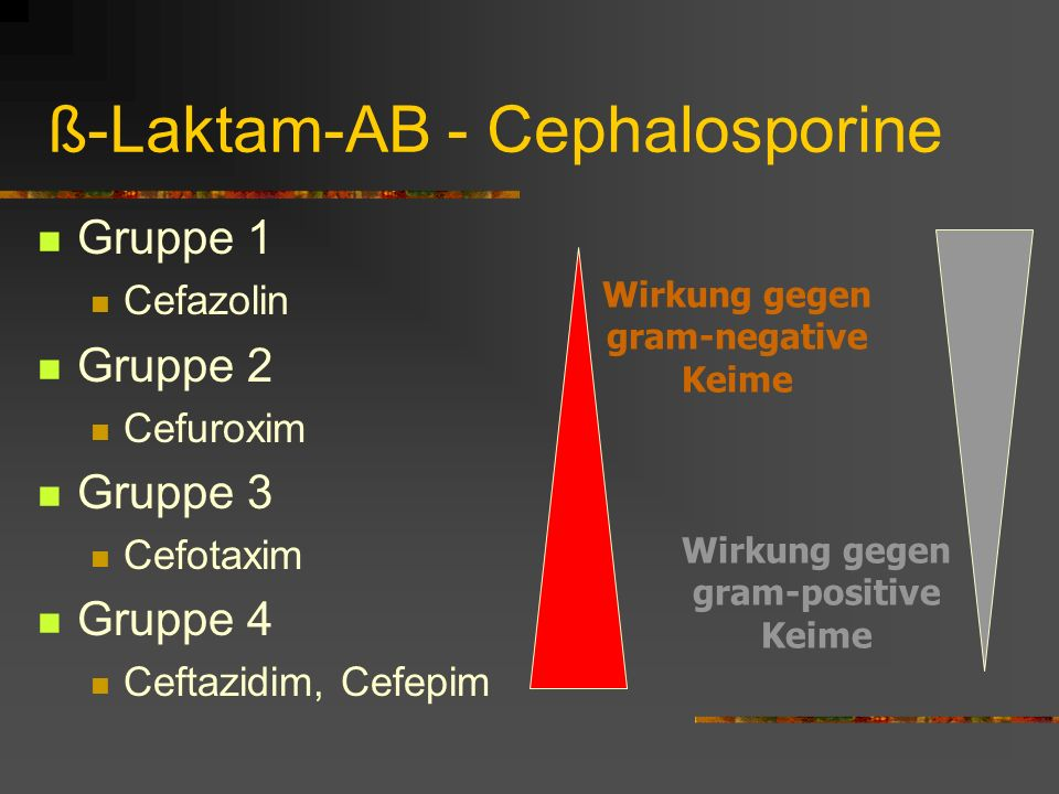 ß-Laktamasen – gram-positive Spaltung des ß-Laktamringes Staphylokokken: > 90% Streptokokken: < 1 % Zellgebunden und Ausschleusung in die Umgebung Durch ß-Laktamase-Inhibitoren hemmbar