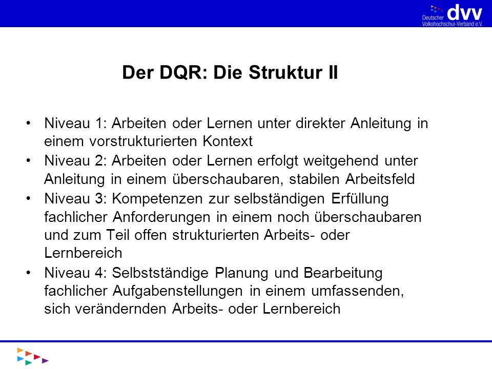 Letzte Entwicklungen und Ausblick Zunächst wurden die formalen Qualifikationen des Deutschen Bildungssystems exemplarisch in den DQR eingeordnet.