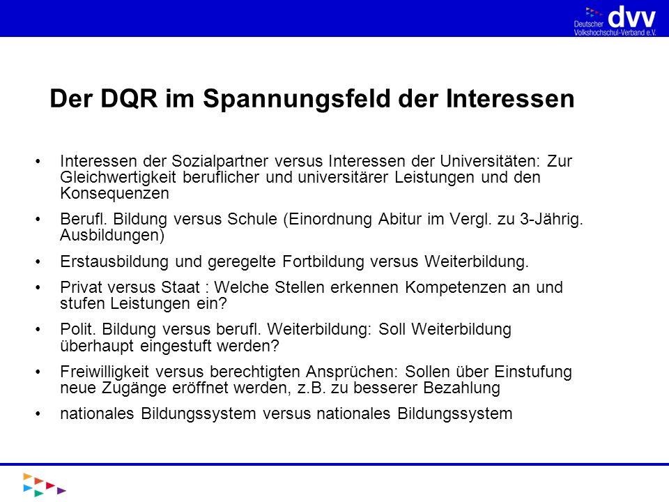 Der DQR im Spannungsfeld der Interessen Interessen der Sozialpartner versus Interessen der Universitäten: Zur Gleichwertigkeit beruflicher und univers