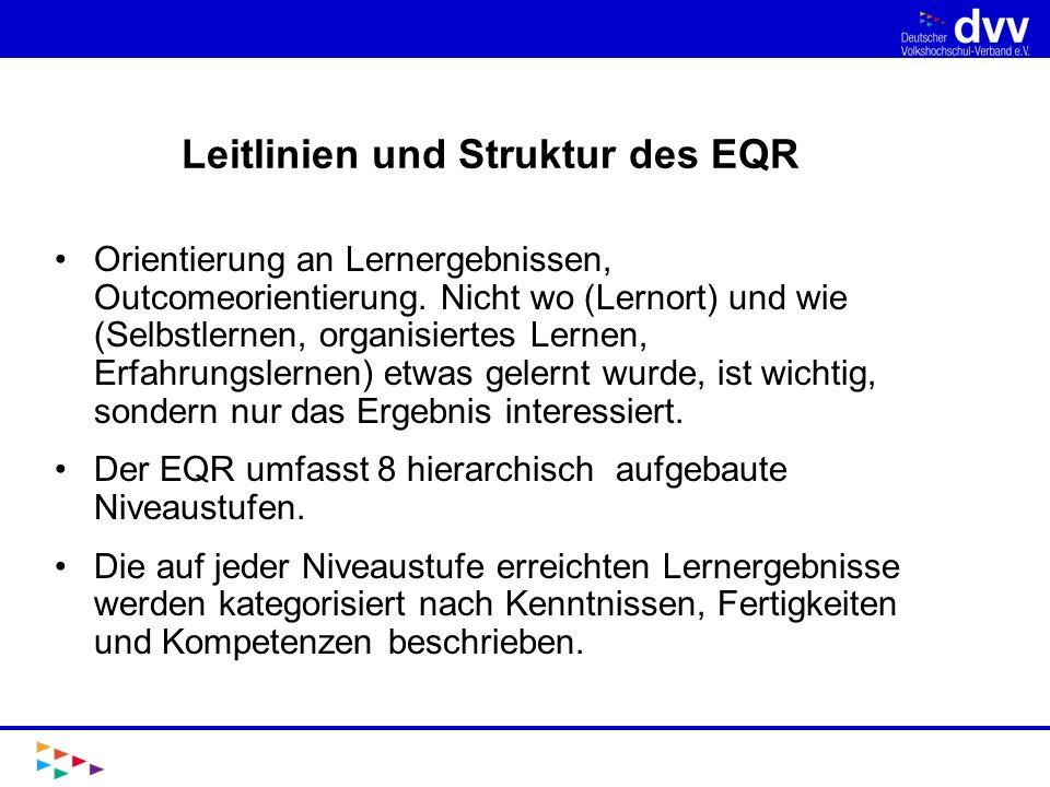 Auf dem Weg zum DQR I Die Mitgliedstaaten der EU sollen bis zum Jahr 2010 die Qualifikationen auf nationaler Ebene in Bezug zum EQR setzen, z.B.