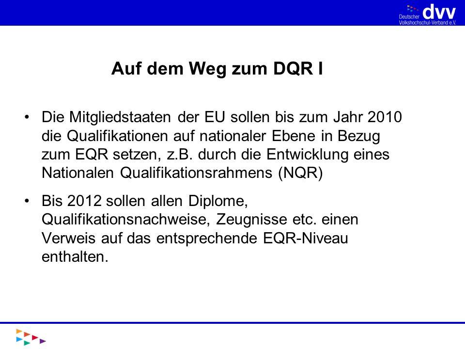 Auf dem Weg zum DQR II 2005 BMBF und KMK verständigen sich auf Entwicklung eines DQR (so heißt der NQR in Deutschland) Beauftragung der KMK AG Europäischer Qualifikationsrahmen Einrichtung einer Bund-Länder- Koordinierungsgruppe 2007 Einrichtung eines AK DQR (Sozialpartner, Experten, Wissenschaft und Praxis)