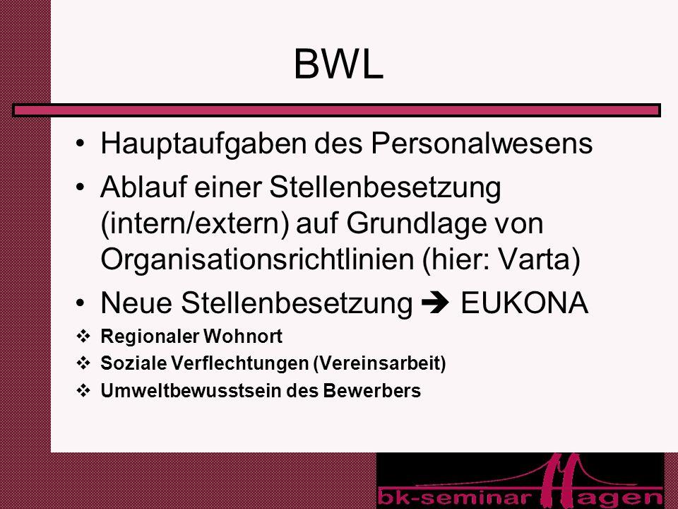 18 BWL Hauptaufgaben des Personalwesens Ablauf einer Stellenbesetzung (intern/extern) auf Grundlage von Organisationsrichtlinien (hier: Varta) Neue St
