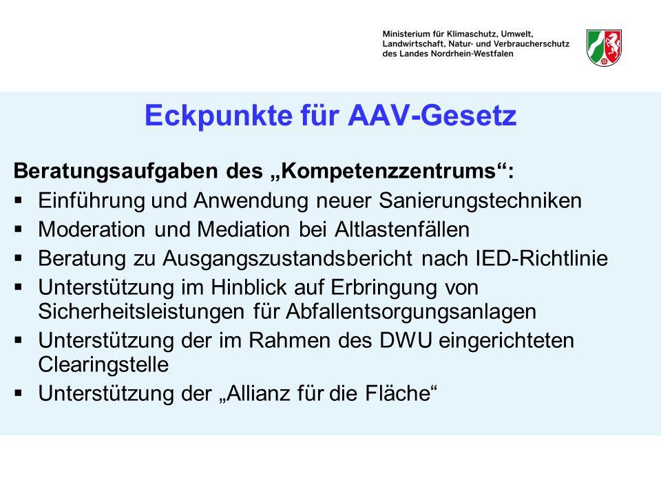 Eckpunkte für AAV-Gesetz Beratungsaufgaben des Kompetenzzentrums: Einführung und Anwendung neuer Sanierungstechniken Moderation und Mediation bei Altl