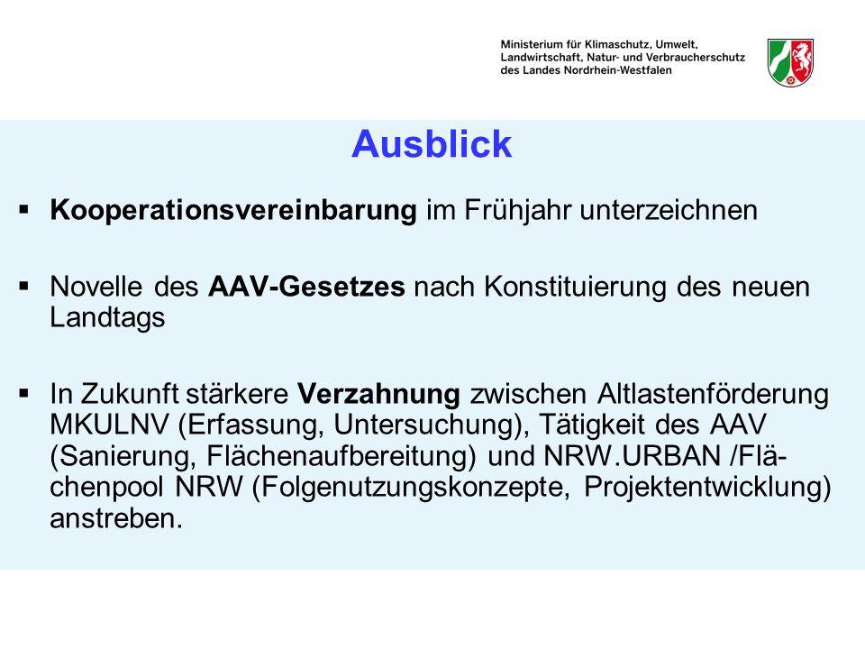 Ausblick Kooperationsvereinbarung im Frühjahr unterzeichnen Novelle des AAV-Gesetzes nach Konstituierung des neuen Landtags In Zukunft stärkere Verzah