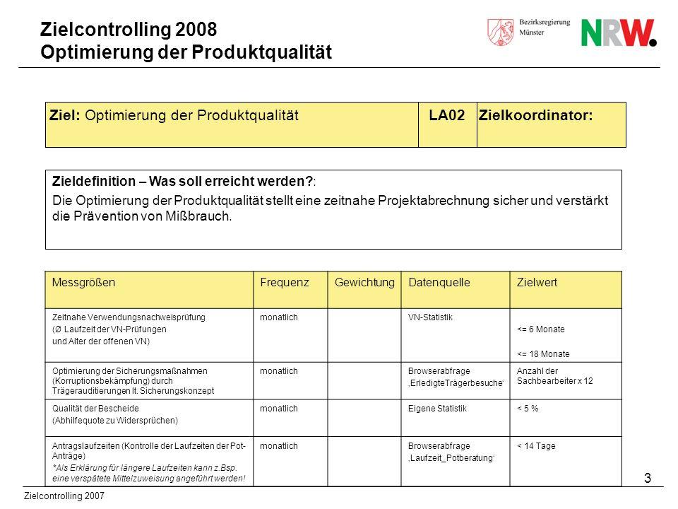 3 Zielcontrolling 2007 Zieldefinition – Was soll erreicht werden?: Die Optimierung der Produktqualität stellt eine zeitnahe Projektabrechnung sicher u