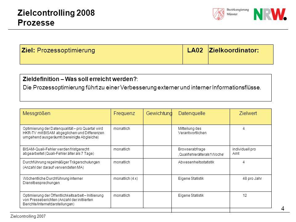 5 Zielcontrolling 2007 Zieldefinition – Was soll erreicht werden?: Der Bereich soll jederzeit neue Programme und Aufgaben übernehmen können.