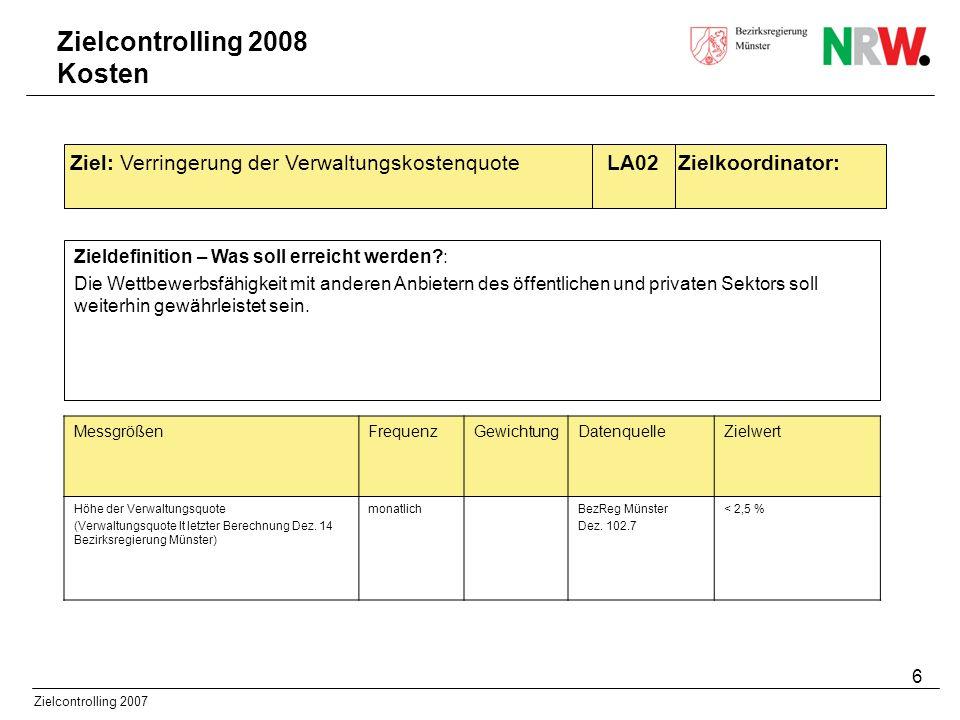 6 Zielcontrolling 2007 Zieldefinition – Was soll erreicht werden?: Die Wettbewerbsfähigkeit mit anderen Anbietern des öffentlichen und privaten Sektor