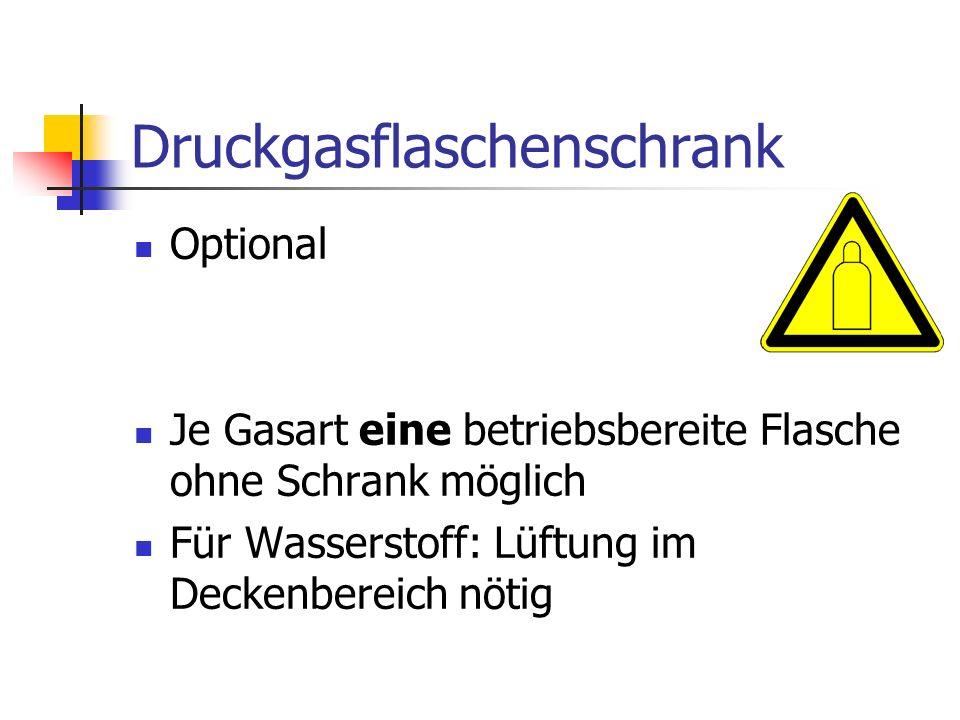 Druckgasflaschenschrank Optional Je Gasart eine betriebsbereite Flasche ohne Schrank möglich Für Wasserstoff: Lüftung im Deckenbereich nötig