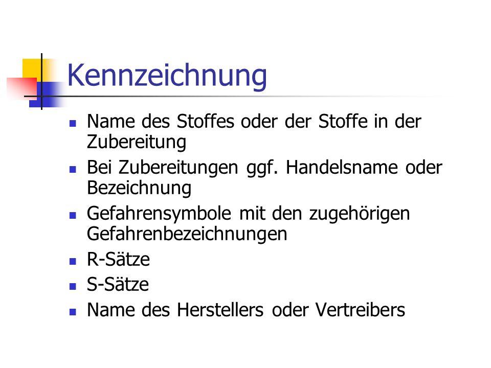 Kennzeichnung Name des Stoffes oder der Stoffe in der Zubereitung Bei Zubereitungen ggf.