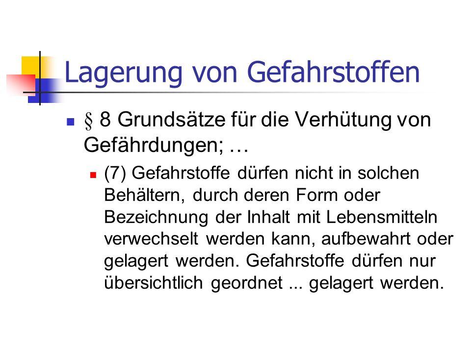 Gefahrstoffverzeichnis Bezeichnung des Gefahrstoffes Einstufung des Gefahrstoffes Mengenbereich des Gefahrstoffes Arbeitsbereiche, in denen mit dem Gefahrstoff umgegangen wird Verzeichnis auf die entsprechenden Sicherheitsdatenblätter