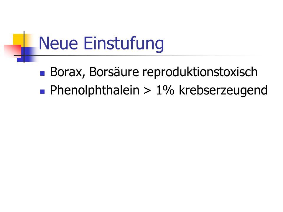 Neue Einstufung Borax, Borsäure reproduktionstoxisch Phenolphthalein > 1% krebserzeugend