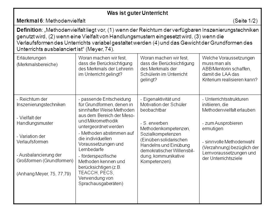 Was ist guter Unterricht Merkmal 6: Methodenvielfalt (Seite 1/2) Definition: Methodenvielfalt liegt vor, (1) wenn der Reichtum der verfügbaren Inszenierungstechniken genutzt wird, (2) wenn eine Vielfalt von Handlungsmustern eingesetzt wird, (3) wenn die Verlaufsformen des Unterrichts variabel gestaltet werden (4) und das Gewicht der Grundformen des Unterrichts ausbalanciert ist (Meyer, 74).