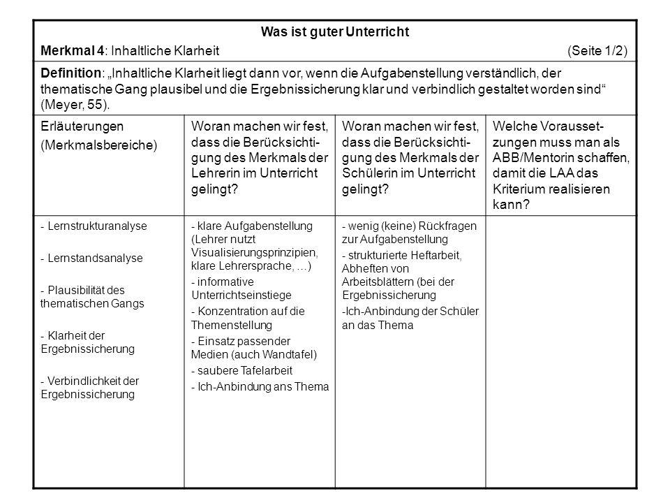 Was ist guter Unterricht Merkmal 4: Inhaltliche Klarheit (Seite 1/2) Definition: Inhaltliche Klarheit liegt dann vor, wenn die Aufgabenstellung verständlich, der thematische Gang plausibel und die Ergebnissicherung klar und verbindlich gestaltet worden sind (Meyer, 55).