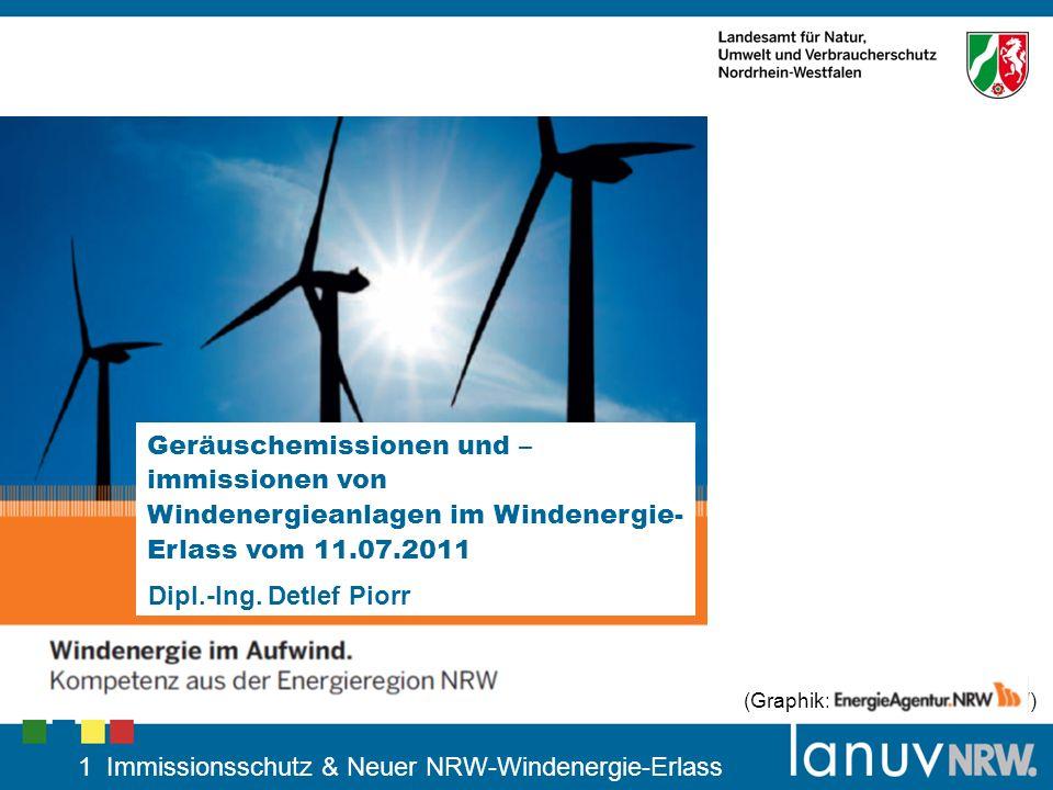 1 Immissionsschutz & Neuer NRW-Windenergie-Erlass Geräuschemissionen und – immissionen von Windenergieanlagen im Windenergie- Erlass vom 11.07.2011 Di