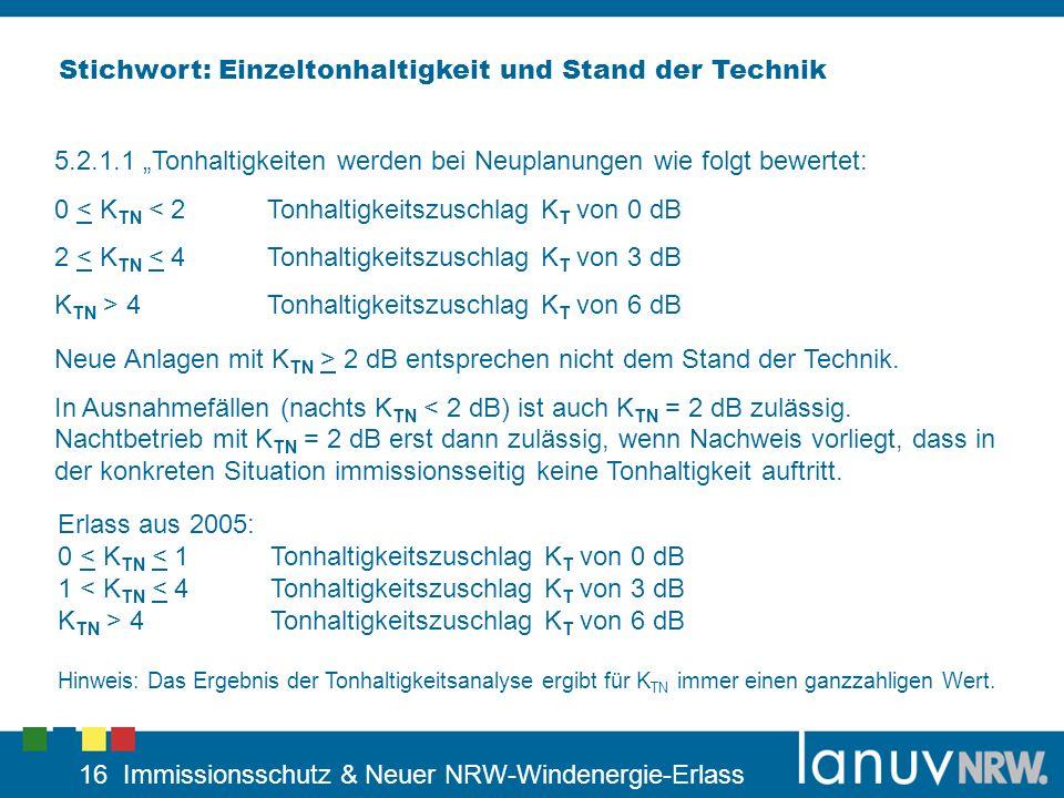 16 Immissionsschutz & Neuer NRW-Windenergie-Erlass 5.2.1.1 Tonhaltigkeiten werden bei Neuplanungen wie folgt bewertet: 0 < K TN < 2Tonhaltigkeitszusch