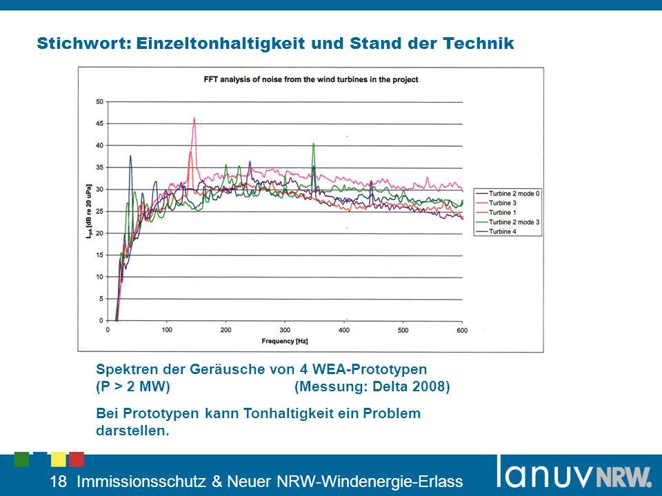 18 Immissionsschutz & Neuer NRW-Windenergie-Erlass Stichwort: Einzeltonhaltigkeit und Stand der Technik Spektren der Geräusche von 4 WEA-Prototypen (P