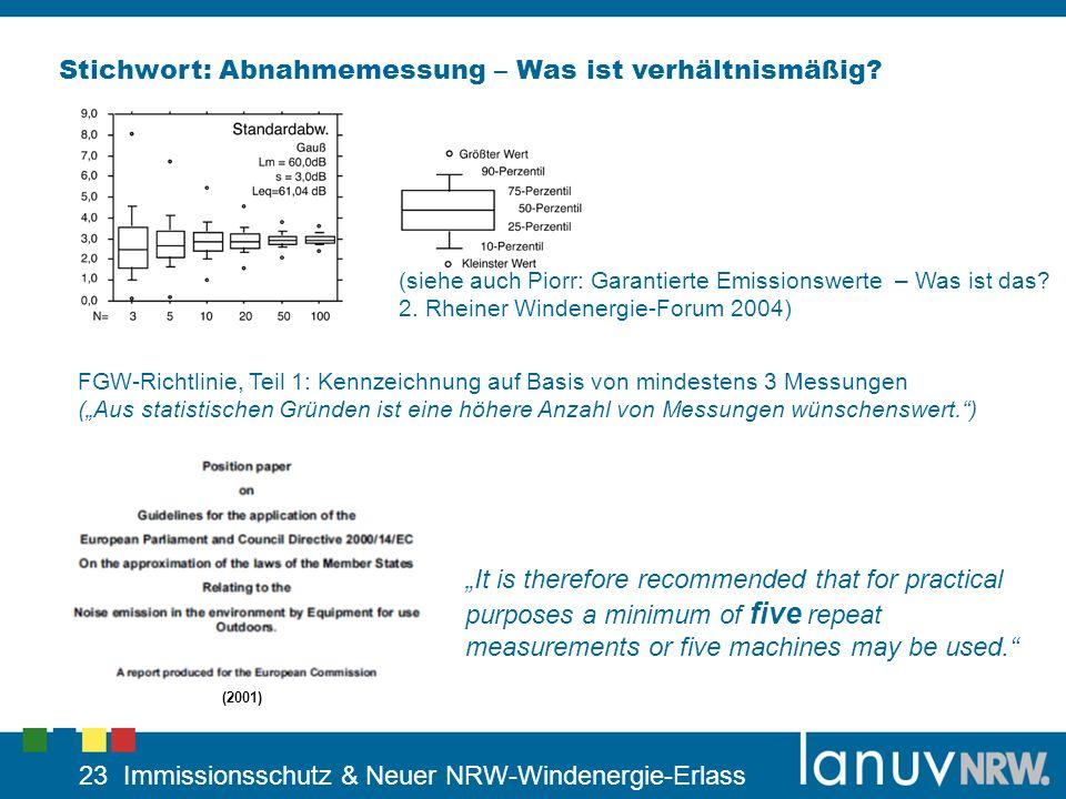 23 Immissionsschutz & Neuer NRW-Windenergie-Erlass Stichwort: Abnahmemessung – Was ist verhältnismäßig? (siehe auch Piorr: Garantierte Emissionswerte
