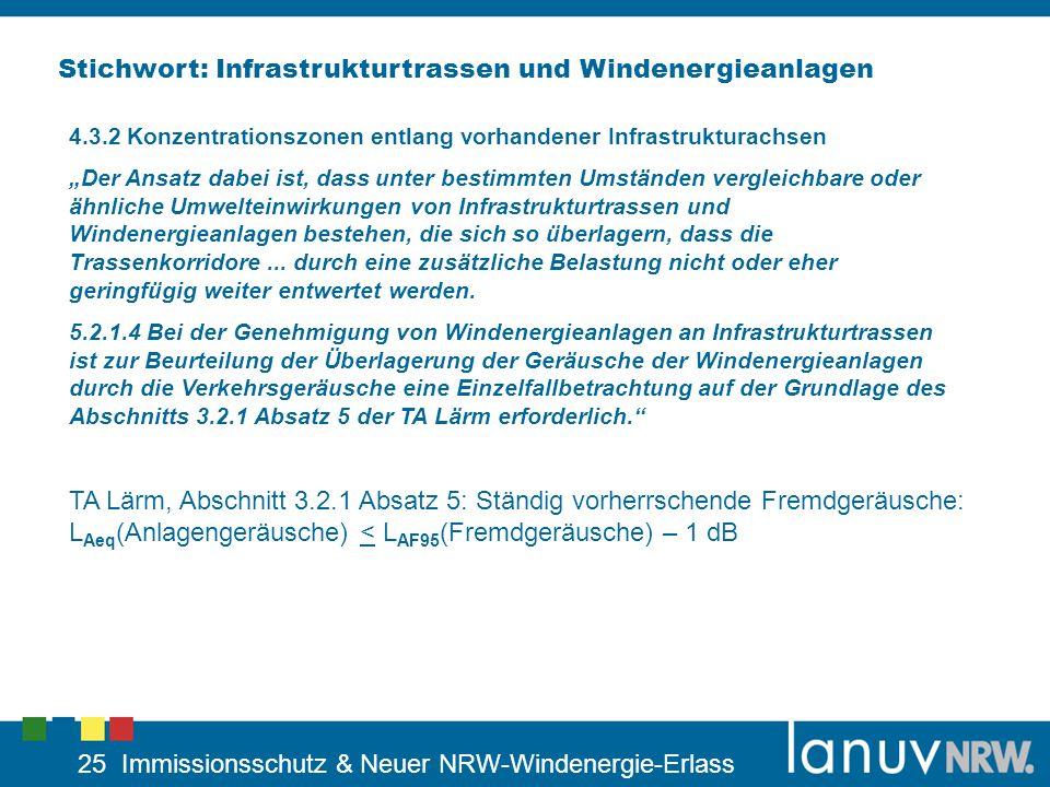 25 Immissionsschutz & Neuer NRW-Windenergie-Erlass Stichwort: Infrastrukturtrassen und Windenergieanlagen 4.3.2 Konzentrationszonen entlang vorhandene